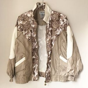 {Vintage} Retro Windbreaker - taupe/gold trimming